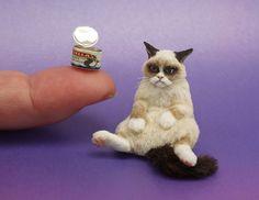 20 Bids sold for 3 thousand 40 dollars!  GRUMPY CAT MINIATURE 2013 1:12 Dollhouse Miniature Cat by Kerri Pajutee *IGMA OOAK #OOAKpolymerclayfibersculpture