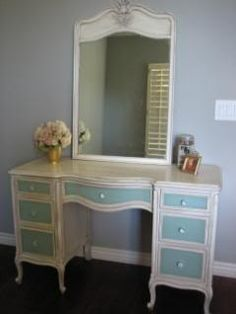 Idea for vanity redo, could use grandma's old vanity & use as a sewing machine table, cute!