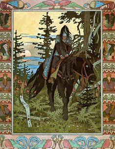 Ivan Yakovlevich Bilibin (Russian: Ива́н Я́ковлевич Били́бин; 16 August [O.S. 4 August] 1876 – 7 February 1942) was a 20th-century illustrator and stage designer who took part in the Mir iskusstva, contributed to the Ballets Russes, became co-founder of the 'Soyuz russkih hudožnikov' '(Association of Russian Painters)
