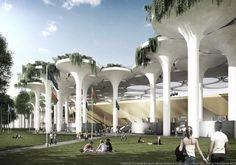 stadiumconcept and IAA architecten Create Stadium with Tractor Valve Columns