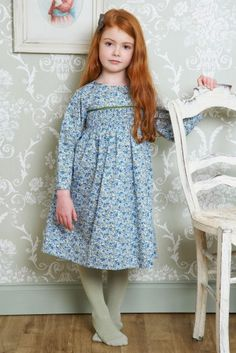 Pretty smocked vintage ' Beatrice' dress in Lupin & Thyme, by Lulu and Flo