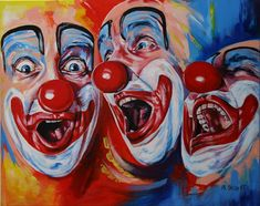 Original Portrait Painting by Philippe Jacquot Scary Clown Makeup, Clown Paintings, Gcse Art Sketchbook, Circus Art, Circus Theme, Creepy Art, Lowbrow Art, Philippe, Cosplay