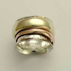 Silver Wedding Band Gold wedding band Spinning Ring by artisanlook