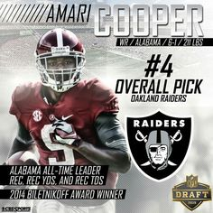 "Amari Cooper drafted #4 overall by the Raiders. By @bamafootball_ ""Congrats to…"