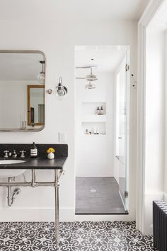 gray cement tile floor subway tile wall dark marble vanity countery cococozy elizabethroberts large