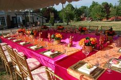 Dining Table under tent. Place Settings, Table Settings, A Table, Dining Table, South Asian Wedding, Tent, Table Decorations, Frame, Colorful