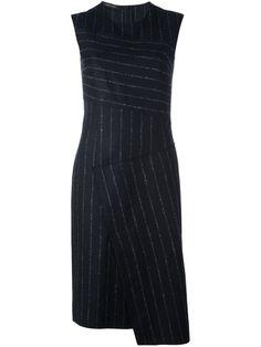 Black and grey virgin wool pinstripe asymmetric dress from Cédric Charlier. £535.00 by farfetch