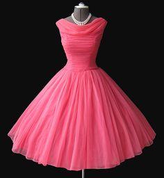 1950's pink chiffon dress Vintage Pink, Vintage Party, Vintage Soul, Vintage Tea, Vintage Girls, Pink Dresses, Dresses 2014, Coral Dress, Pink Chiffon Dress