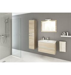 Ensemble de salle de bain FONTE chêne sonoma 60cm - Meuble Salle de bain une vasque - Décoration salle de bain