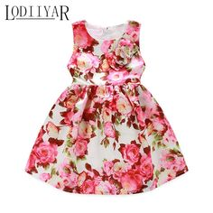 14.99$  Buy here - http://alip7e.shopchina.info/go.php?t=32789874302 - Pink Party Dress For Girls Printed Flowers Wedding Dresses European Style Girl Floral Bowknot Prom Princess Dress Girls Clothes   #magazine