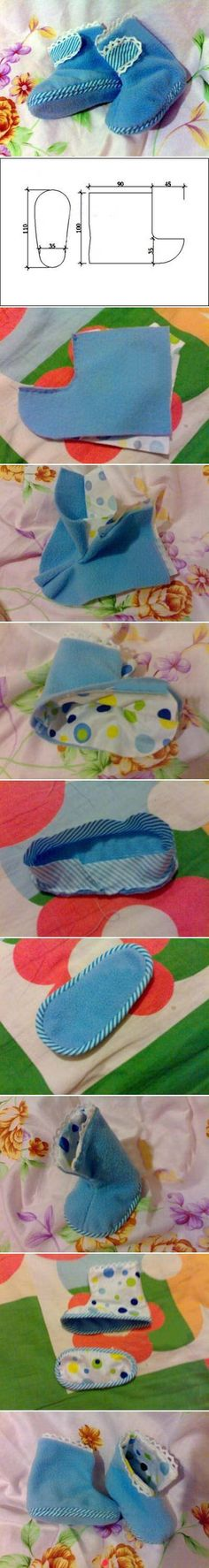 DIY Baby Boots cute blue baby boots diy easy crafts diy ideas diy crafts do it yourself easy diy diy tips diy images do it yourself images diy photos diy pics baby shoes easy bay clothes kids crafts Doll Clothes Patterns, Doll Patterns, Sewing Patterns, Sewing For Kids, Baby Sewing, Sewing Crafts, Sewing Projects, Diy Projects, Diy Bebe