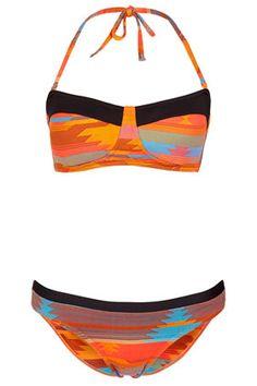 TOPSHOP - Orange Aztec Bandeau Bikini