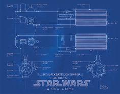 Blue print of Anakin / Luke Skywalker's lightsaber.