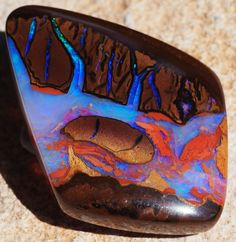 Minerals and Crystals — Koroit Boulder Opal - Winton, Queensland,. Minerals And Gemstones, Crystals Minerals, Rocks And Minerals, Stones And Crystals, Gem Stones, Loose Gemstones, My Birthstone, Beautiful Rocks, Rocks And Gems