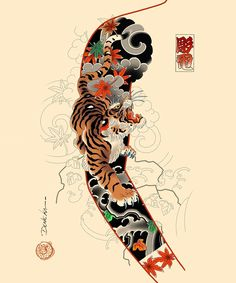 Japanese Tiger Tattoo, Japanese Dragon Tattoos, Japanese Sleeve Tattoos, Japanese Tattoo Designs, Thigh Piece Tattoos, Full Sleeve Tattoos, Hand Tattoos, Dragon Tattoo Arm, Dragon Sleeve Tattoos