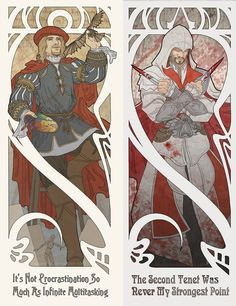 "Mucha Style - "" #AssassinsCreed"" Illustrations in style of ""Alphonse Mucha"" by ""Megan Lara"""
