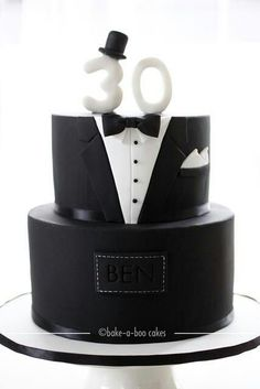 Tuxedo cake for 30th birthday. Could easily modify for a groom's cake.: