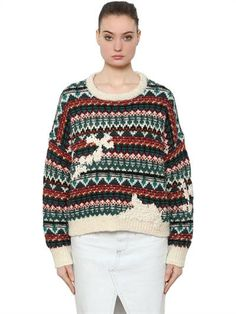 ISABEL MARANT ÉTOILE - WOOL KNIT JACQUARD SWEATER - KNITWEAR - ECRU/GREEN - Luisaviaroma - Crewneck. Ribbed collar, cuffs and hem . Drop shoulders. Brushed finish . Jacquard pattern placement may vary . Embroidered yarn effect details. Sample size: 38