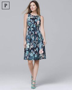 Petite Floral Scuba Fit-and-Flare Dress