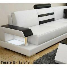 Tessie - U - Leather Sofa Lounge Set Living Room Sofa Design, Bedroom Bed Design, Living Room Tv, Living Area, Living Room Designs, Modular Sofa, Modular Lounges, Lounge Sofa, Chaise Sofa