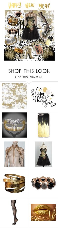 """""""Happy New Year! 2016-2017"""" by medievalhavoc ❤ liked on Polyvore featuring Caspari, Casetify and Wolford"""