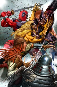 Wolverine vs. The Silver Samurai, Lady Deathstrike, Sabertooth, and Deadpool by Greg Horn *