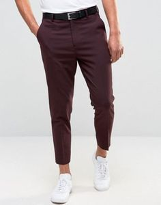 ASOS Tapered Trousers in Burgundy