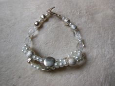 Beautiful Understated Silver and Pearl Bracelet by handmadejewelrybypam on Etsy