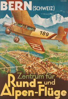 Bern, Switzerland, vintage travel poster