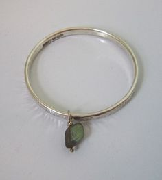 Amanda Chalmers Jewellery - Hammered Silver Bangle with Labradorite