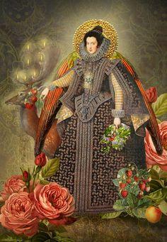 Printable Christmas Card, Elizabethan Angel