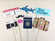 Farewell Party Photo Booth Props Travel Theme Props Birthday Bon Voyage Theme Wedding Goodbye Party FULLY ASSEMBLED 8 PC ✦ This set includes 8 assortment of photo props that are ideal for travel themed parties! Cruise Theme Parties, Cruise Party, Birthday Party Themes, Themed Parties, Lego Parties, Lego Birthday, Photos Booth, Photo Booth Props, Farewell Parties