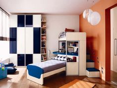 Blue-Accented-Stairs-in-Boys-Bedroom ~ http://www.lookmyhomes.com/15-best-ideas-for-boys-bedroom-decorating/