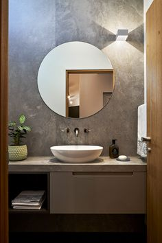Modern Bathroom Design A modern powder room design with a toilet and vanity for guests Powder Room Vanity, Powder Room Decor, Powder Room Design, Powder Room Mirrors, Bathroom Vanity Designs, Bathroom Design Luxury, Modern Bathroom Design, Modern Toilet Design, Small Bathroom Vanities