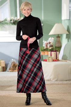 Turtleneck sweater and a-line plaid skirt
