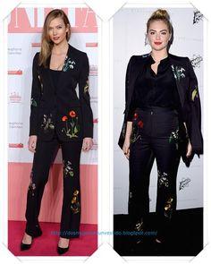 Un traje negro de flores de Stella McCartney lo llevo primero Karlie Kloss a un fiesta; después se lo vimos a Kate Upton en el desfile de la firma