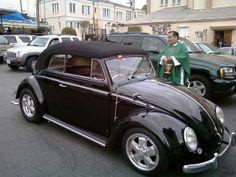 Marco A Flores, member of 80's L.A., Los Angeles, California, U.S.A. His 1954 RHD Black VW Cabriolet.