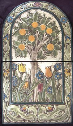 Arts and craft hand painted orange tree tile set   Adapted from a William Morris design