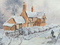 Watercolour House In Snow - By Bazza