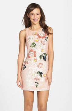 Cute floral sequin mini dress