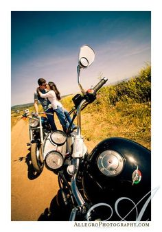 Motorcycle Portrait Ideas For Couples...    This is such a cute picture idea!