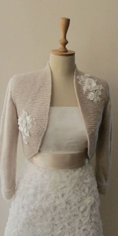 Bridal Bolero Wedding Shrug  Wrap Capelet  Flower lace shawl jacket 3/4 sleeve. $85.00, via Etsy.