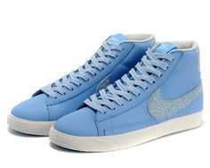 Cheap 375573 404 Nike Blazer MID leather blue women running shoes