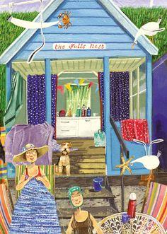 'The Gulls' Nest' (Beach hut) By Artist Stephanie Lambourne. Blank Art Cards By… Art And Illustration, Knitting Humor, Knit Art, Naive Art, Art For Art Sake, Whimsical Art, Beach Art, Painting For Kids, Folk Art