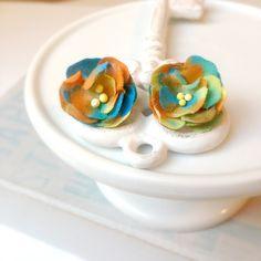 Flower earrings, colorful earrings, flower post earrings, floral earrings, flower jewelry, nature, flower stud earrings by Sayaestics on Etsy
