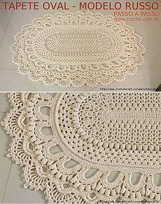 Коврик крючком овальной формы. МК в фотографиях [] # # #Doilies, # #Carpets, # #Crochet