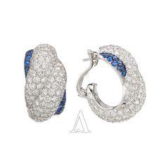 Chopard Jewelry, 18K White Gold, White Diamonds and Blue Sapphires, Diamond, Earring 53k USD