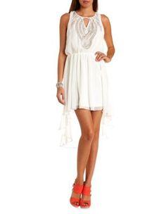 embellished chiffon high-low dress