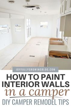 Use this DIY camper remodel tutorial to paint the interior walls of your camper yourself! This easy tutorial uses the best primer for camper walls to create a perfect finish and is SUPER easy to… Camper Renovation, Home Renovation, Home Remodeling, Camper Remodeling, Kitchen Remodeling, Remodel Caravane, Travel Trailer Remodel, Travel Trailers, Camper Trailers