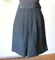 Vintage 50's Shorts, High Waist, Black with Fancy Button, Pin Up, Rockabilly, Style, Size Small to Medium. $59.00, via Etsy.